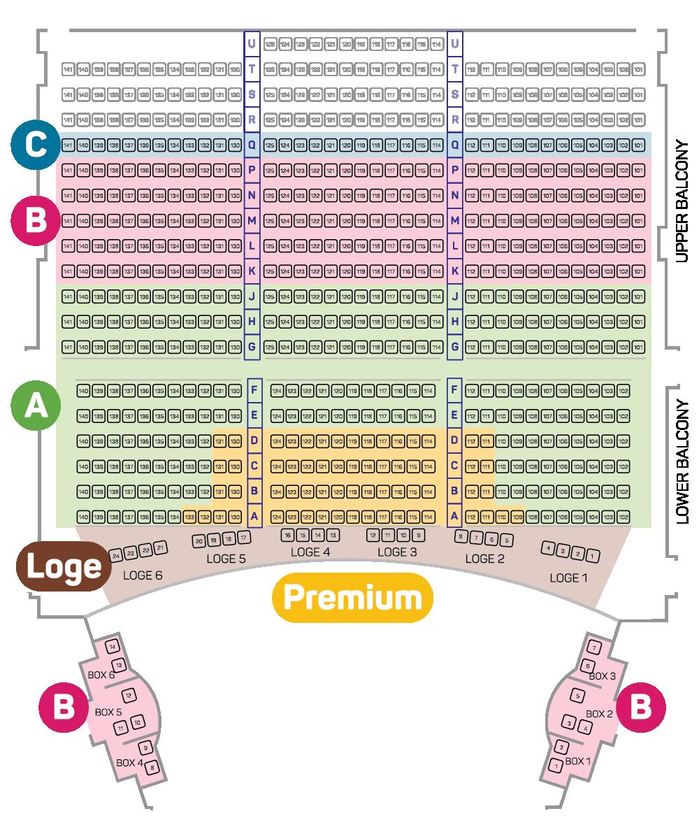 Royal Theatre Seating Plan - Balcony