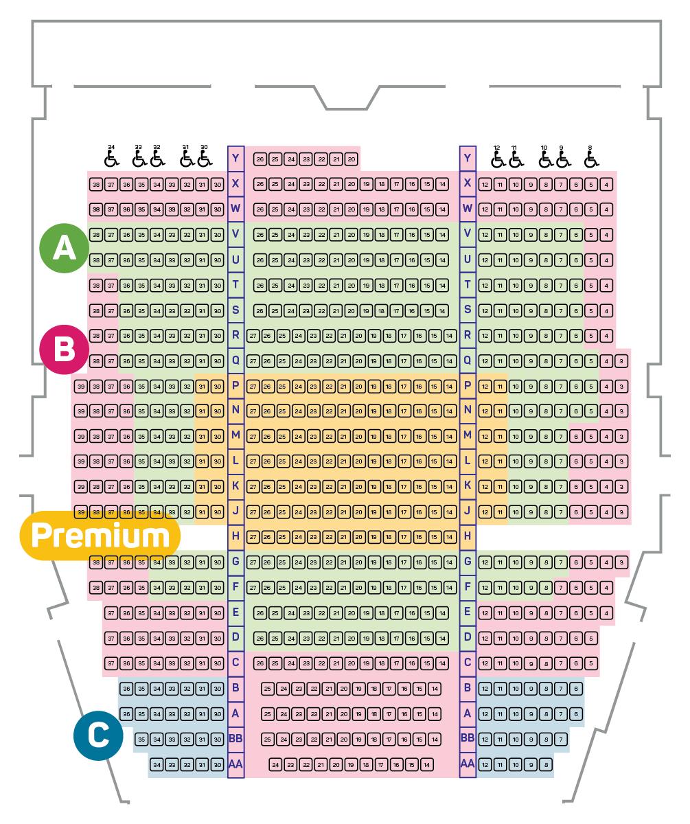 Royal Theatre Seating Plan - Main Floor