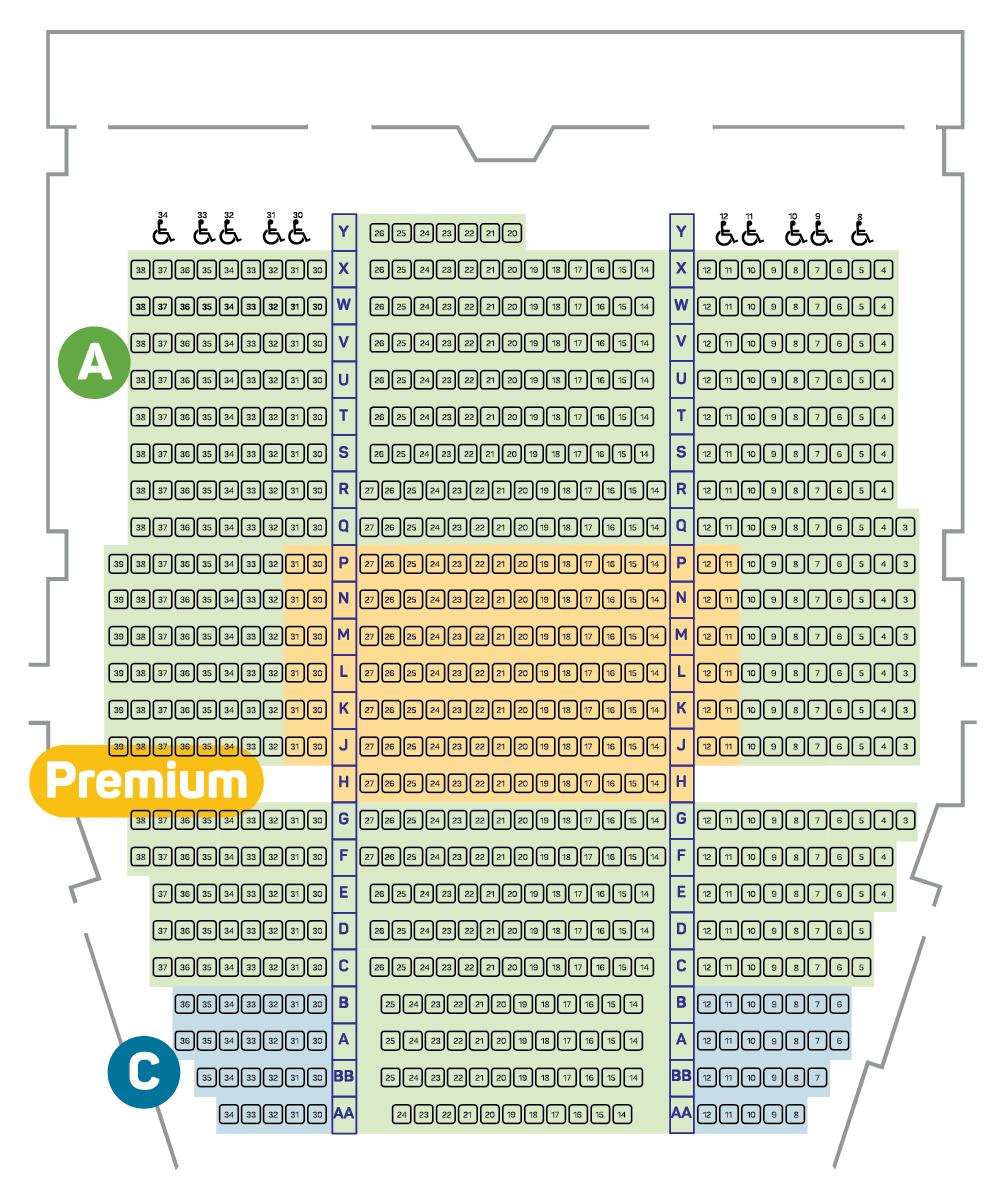 Alvin Ailey Royal Theatre Seating Plan - Main Floor