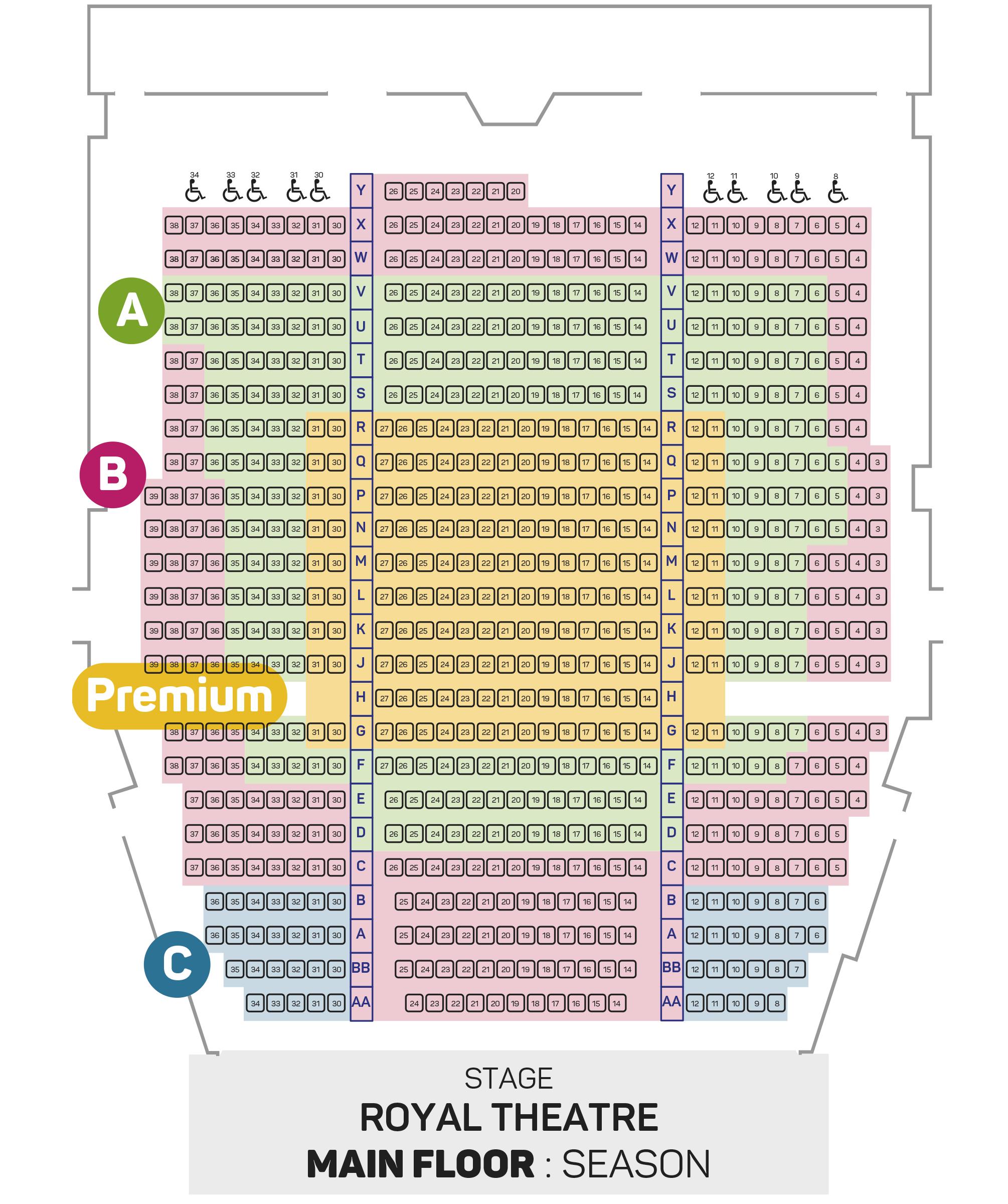 Royal Subscription Seating Plan - Main Floor