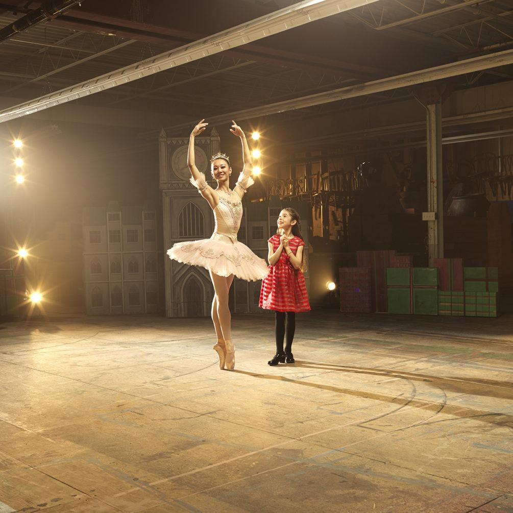 Nutcracker by Royal Winnipeg Ballet. Dancer Chenxin Liu with RWB School Student. Photo: David Cooper